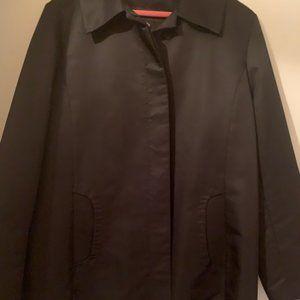 Jones New York black raincoat, leopard lining, XL